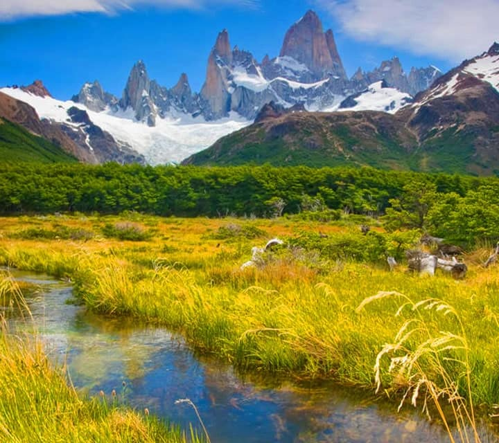 Beautiful mountainscape and river in Patagonia