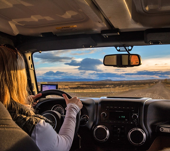 Specially equipped Jeep® for satellite navigation on a Patagonia Overland Safari