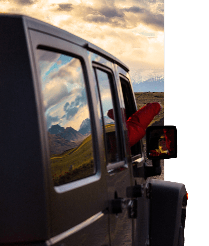 Head on view of Jeep in Patagonia