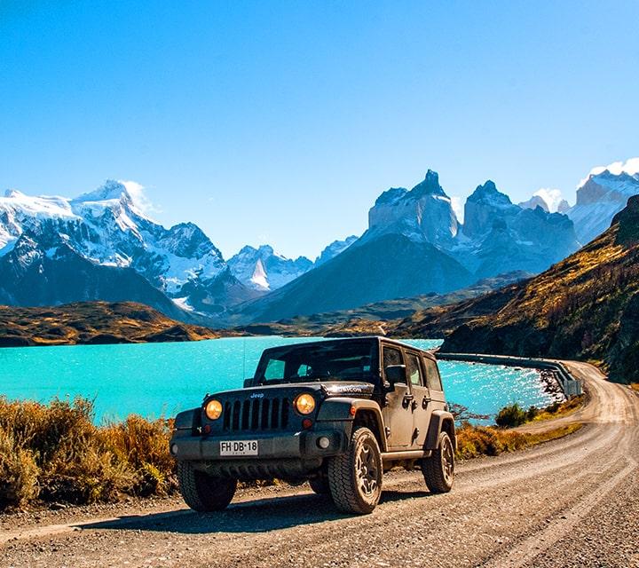 Driving a Jeep on a Patagonia Safari