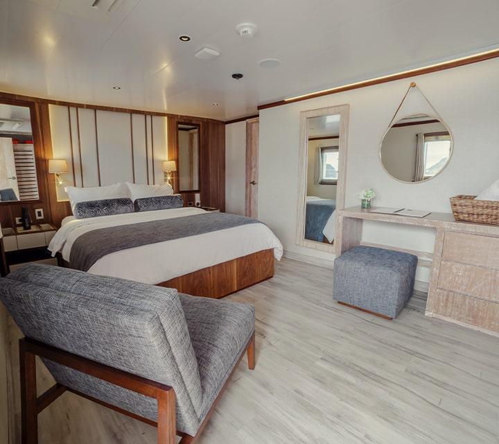 Retire each evening in absolute comfort in a deluxe stateroom aboard Quasar's Galapagos Yachts