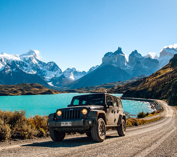 Jeep driving in Torres del Paine National Park, Chile on a Overland Safari with Quasar