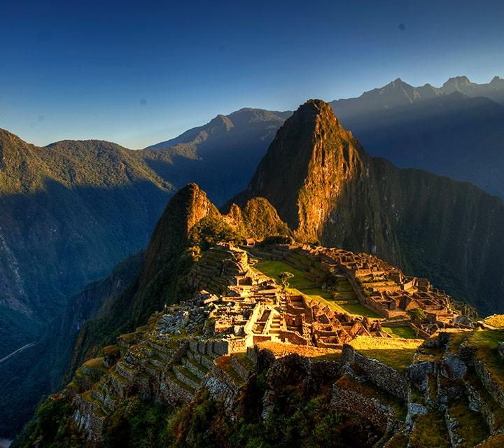 Glowing Machu Picchu peaks at sunset