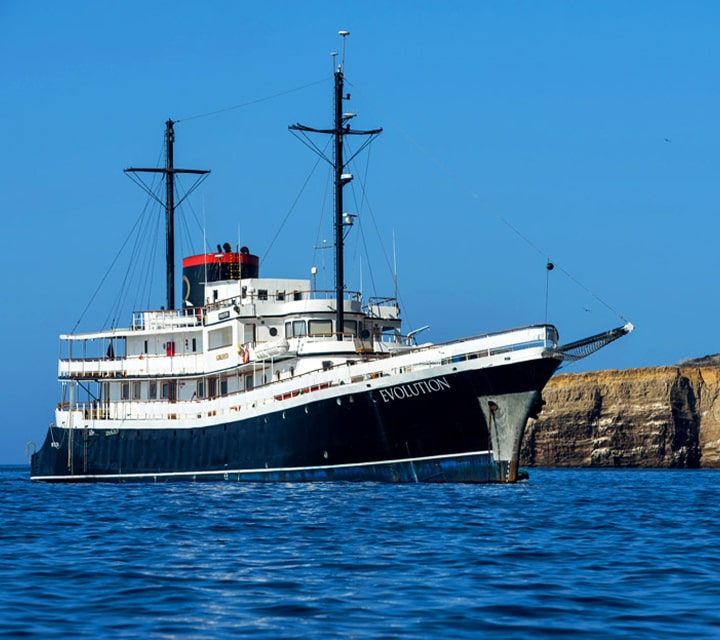 Evolution Yacht sailing the waters of the Galapagos Islands