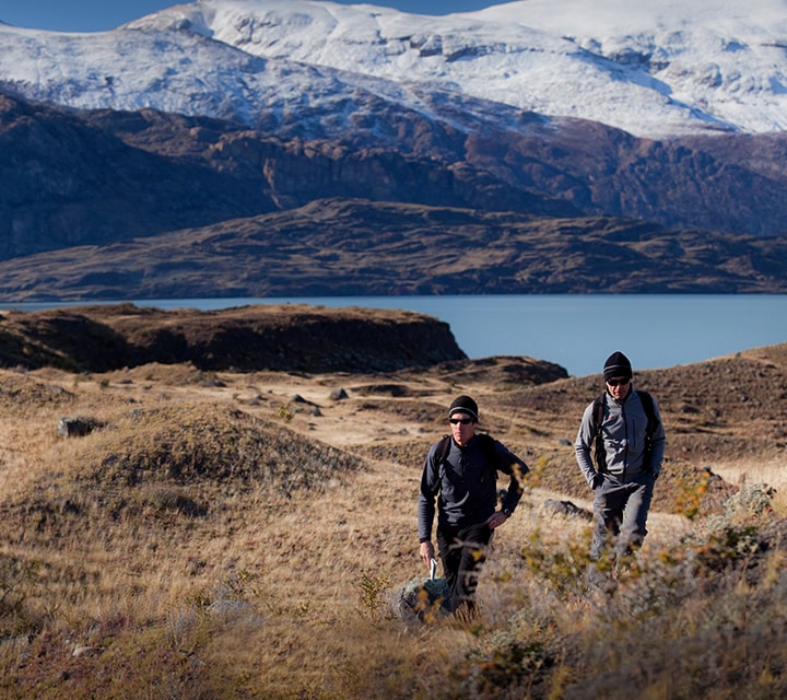 Two men taking on a easy hike in Patagonia