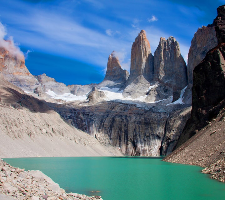 Glacial lake at the base of the towers of Torres del Paine National Park, Chilean Patagonia