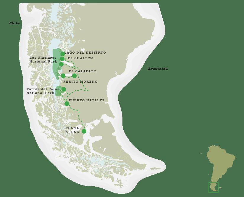 Patagonia Immersion Safari Itinerary Map