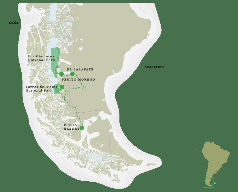 Patagonia Select Safari Itinerary Map