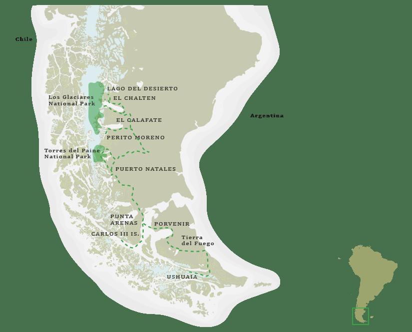 Patagonia Tailor Made Safari Itinerary Map