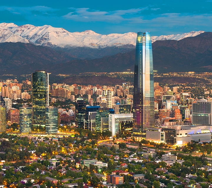 Day 1: City skyline of Santiago, Chile