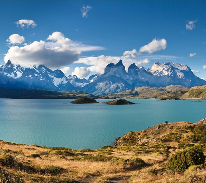 Beautiful clear blue sky day in Torres del Paine National Park, Chile
