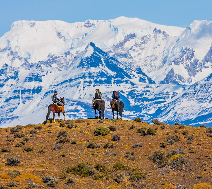 Gaucho leading a horseback riding tour in Patagonia