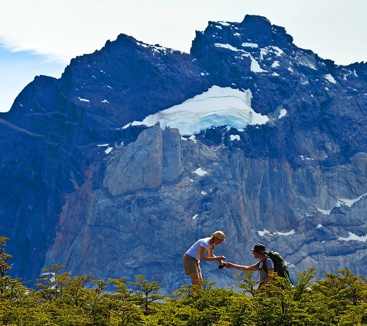 Guided hikers in Patagonia