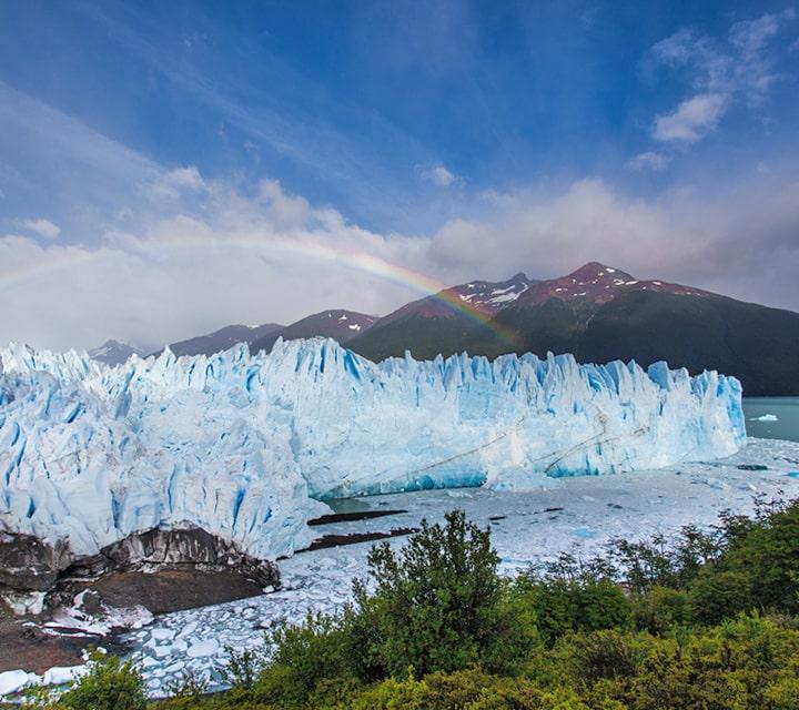 Rainbow over Perito Moreno Glacier in Patagonia