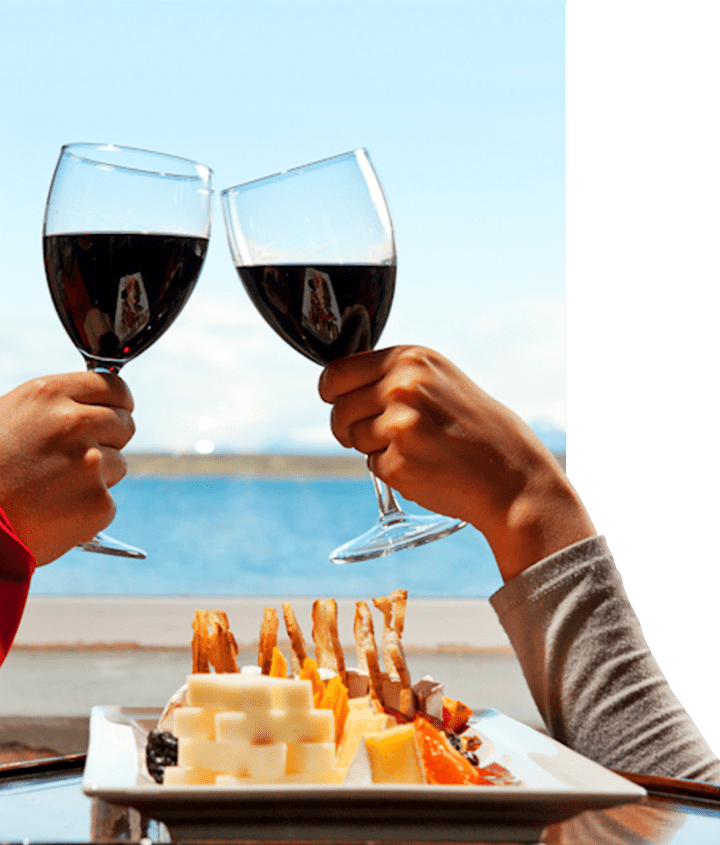 Two people enjoying a Chilean wine delight with an appetizer