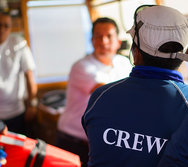 Professional yacht crew onboard Quasar's yacht for Galapagos Cruise Adventures
