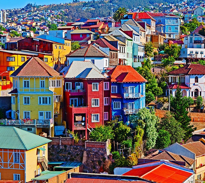 Colorful, clifftop homes in Valparaiso's port city on Chile's coast