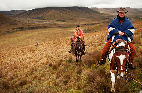 Horseback riding near Cotopaxi Volcano