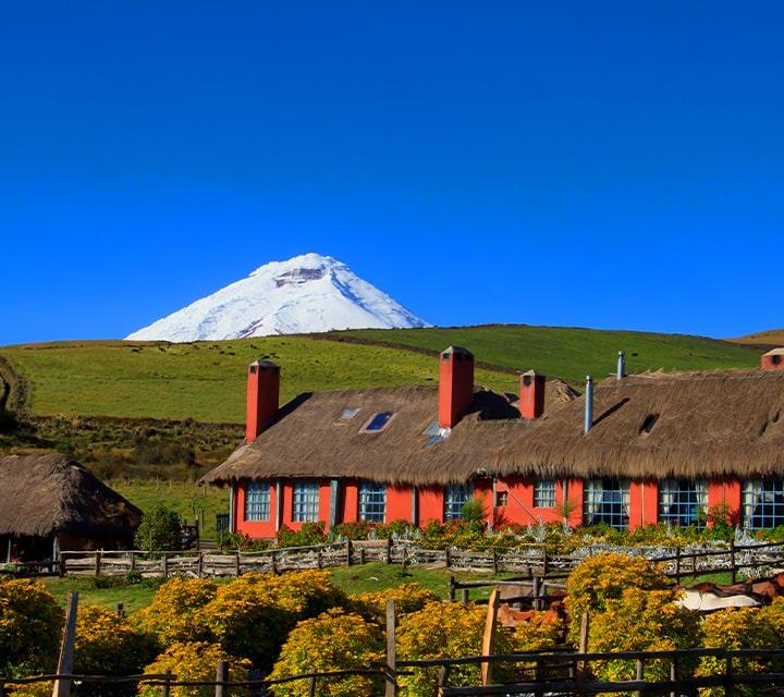 Hacienda El Porvenir with Rumiñahui Volcano in the background