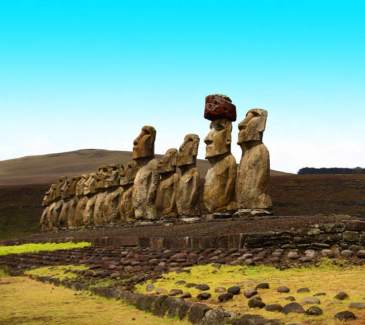 The 15 stone moai statues on Easter Island stand with mystery and history in Chile