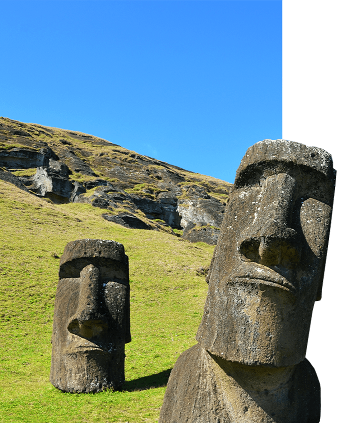 Carved Easter Island Heads in Chile, known as Moai, a UNESCO World Heritage Site