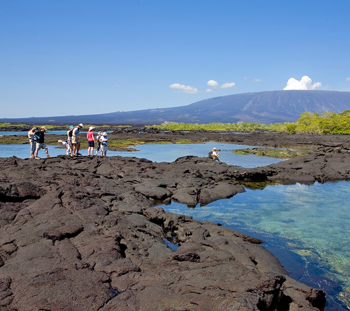 A day excursion for a small group of explorers to the lava field in the Galapagos Islands