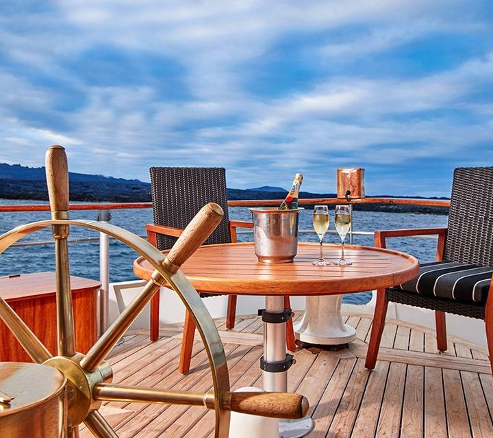 Ship wheel aboard M/Y Grace