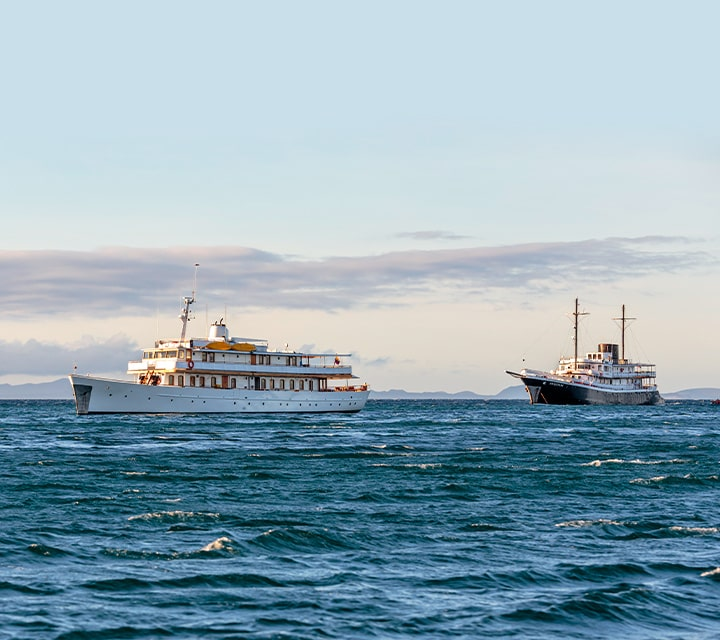 Grace Yacht, pictured left, and Evolution, pictured right, heavy ships on ocean water for quieter sailing
