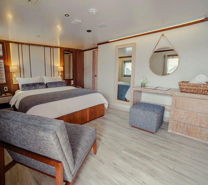 Spacious stateroom in a luxury yacht, owned and operated exclusively by Quasar Expeditions