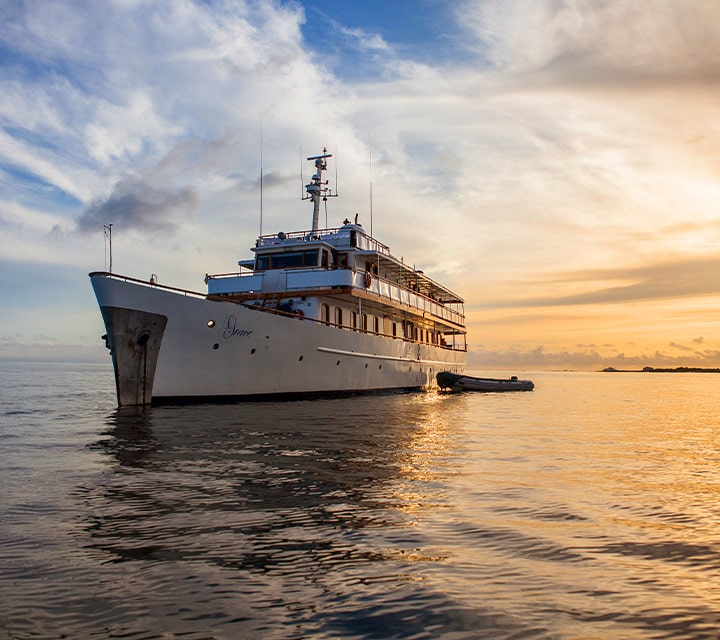 Grace Yacht sailing at sunset in the Galapagos Islands