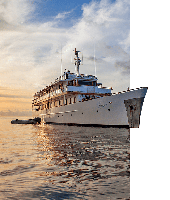 Grace Yacht at sunset in the Galapagos Islands