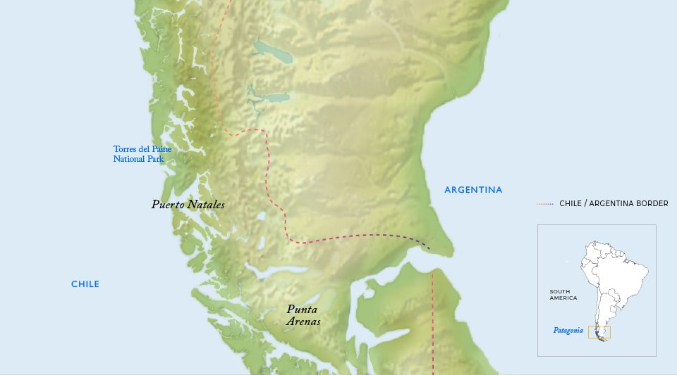 Patagonia Map showing borders of Chile and Argentina