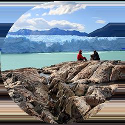 Couple overlooking Perito Moreno in Argentina
