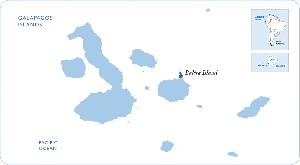 Map of the Galapagos showing Baltra Island