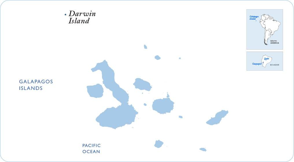 Map of the Galapagos showing Darwin Island