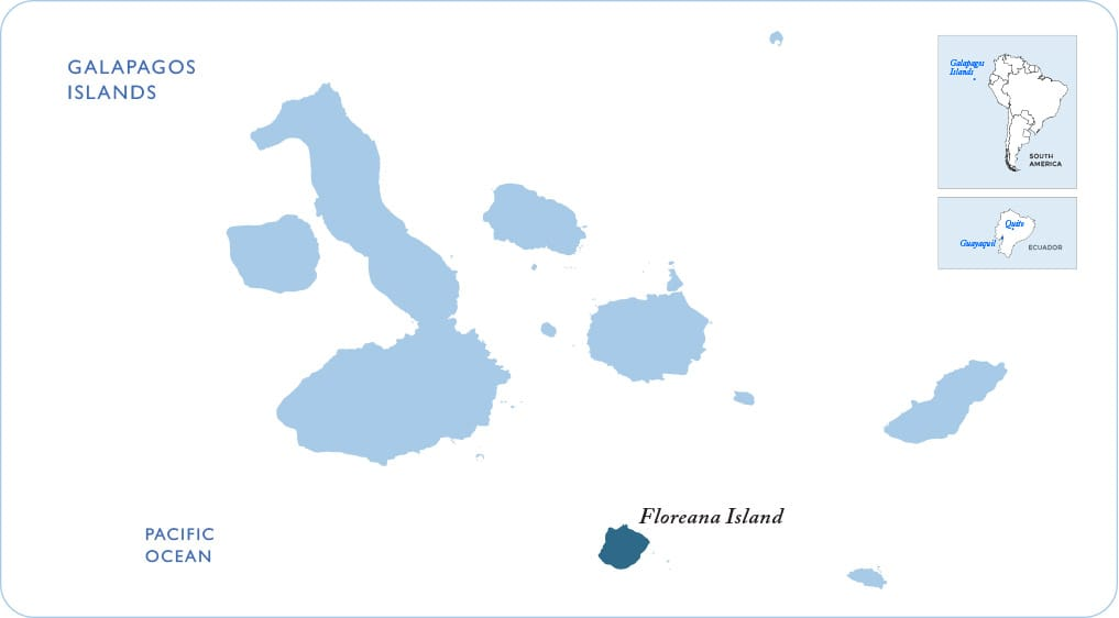Map of the Galapagos showing Floreana Island
