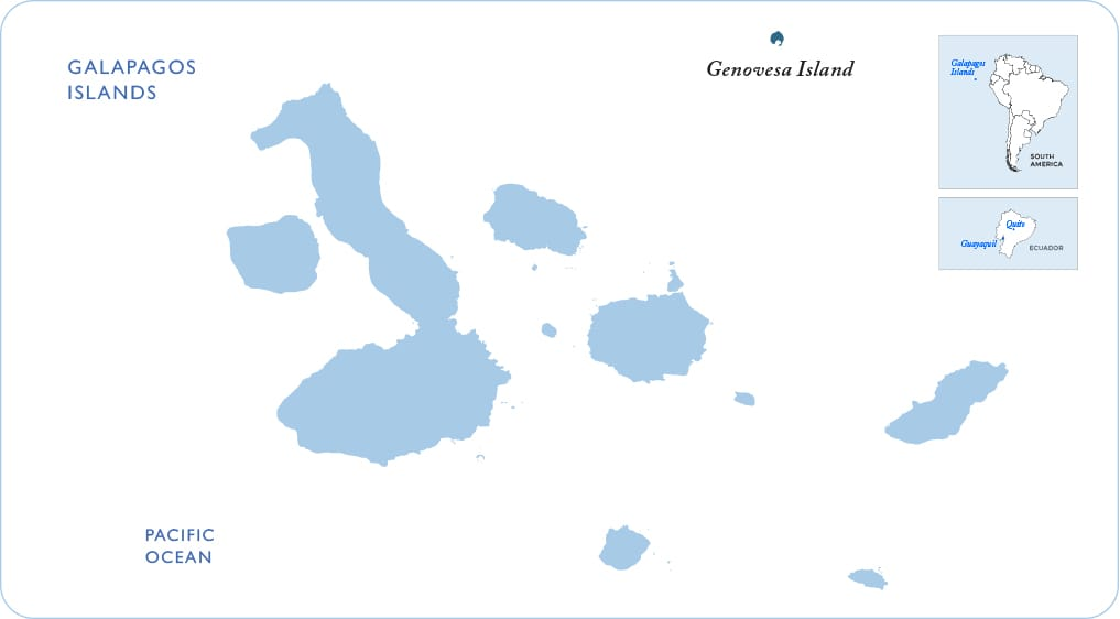 Map of the Galapagos showing Genovesa Island