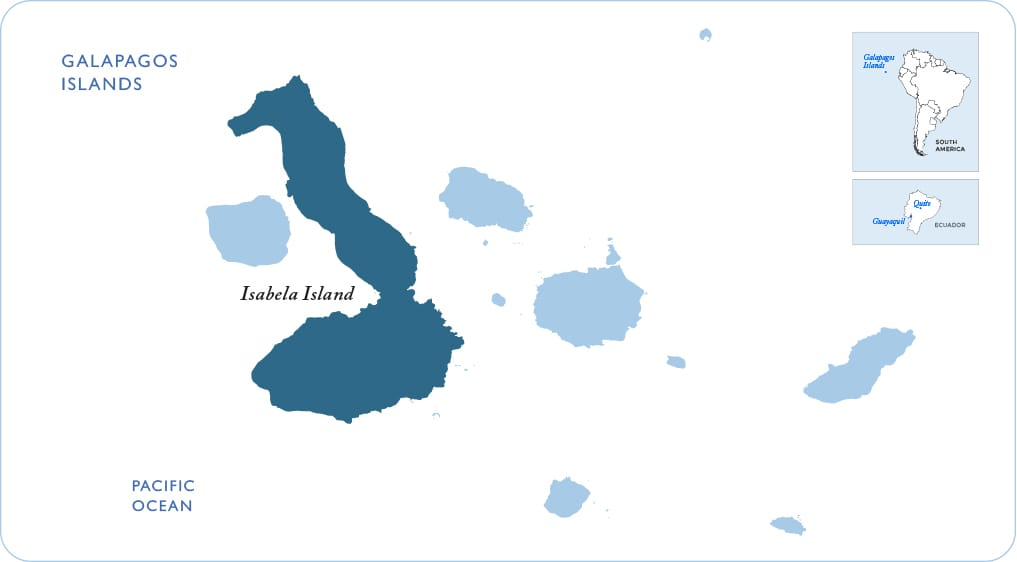 Map of the Galapagos showing Isabela Island