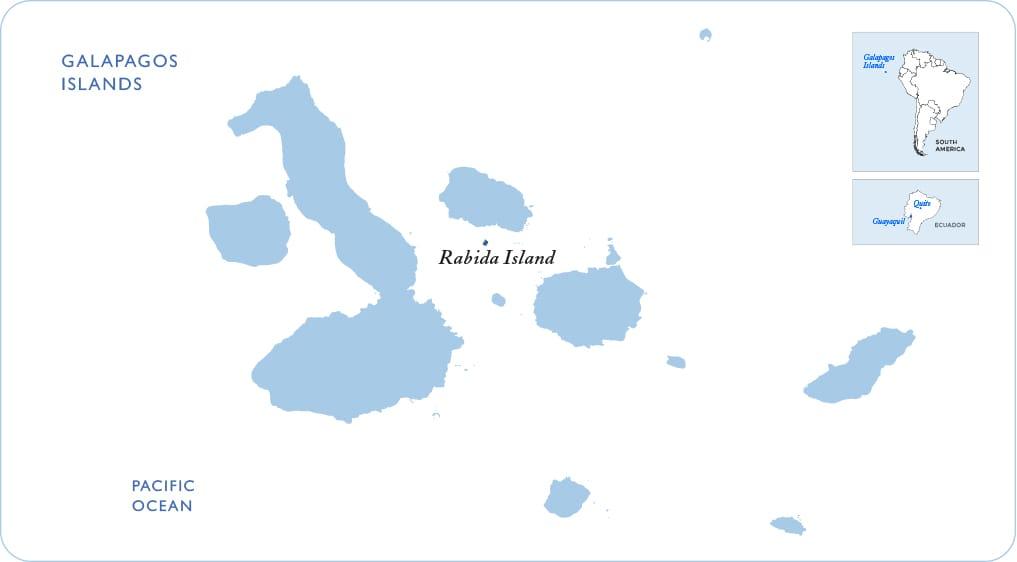 Map of the Galapagos showing Rabida Island