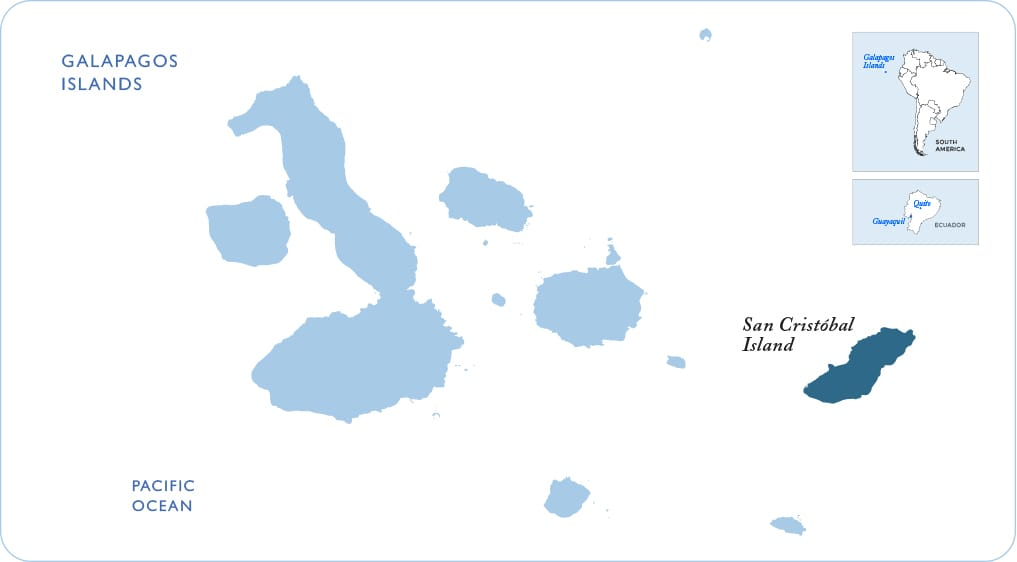 Map of the Galapagos showing San Cristobal Island