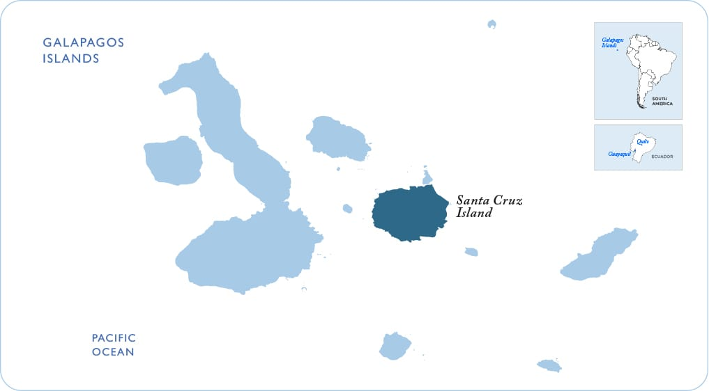 Map of the Galapagos showing Santa Cruz Island