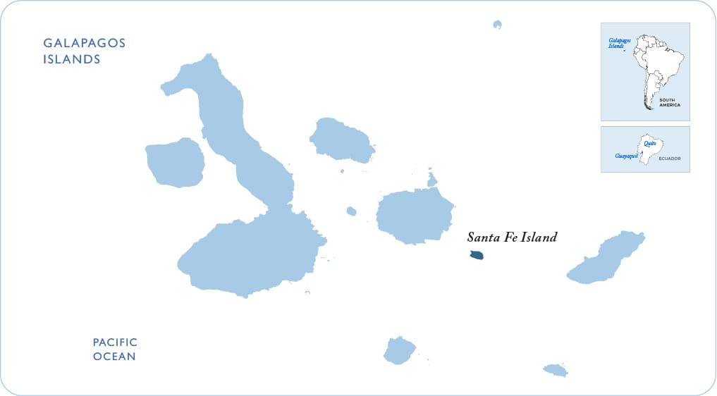 Map of the Galapagos showing Santa Fe Island