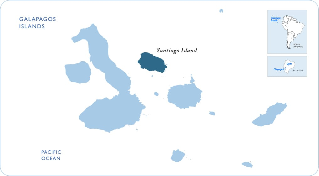 Map of the Galapagos showing Santiago Island