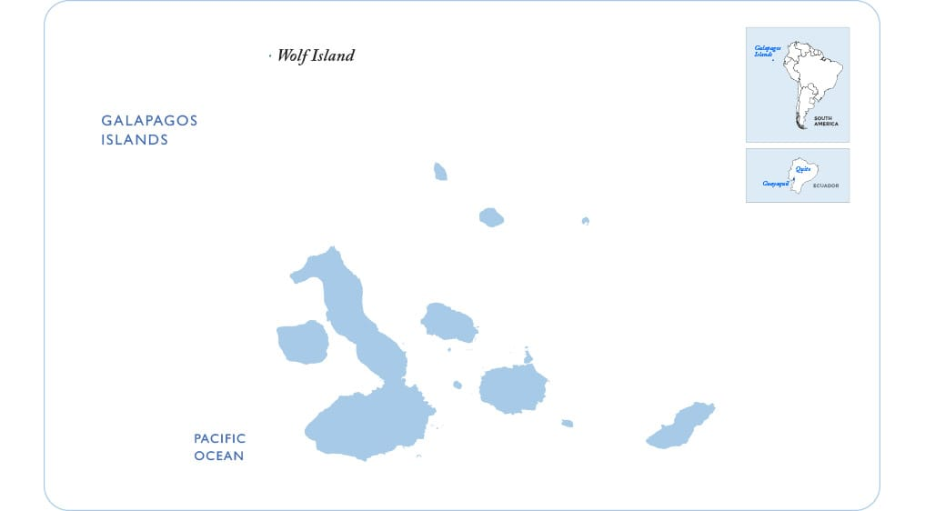 Map of the Galapagos showing Wolf Island