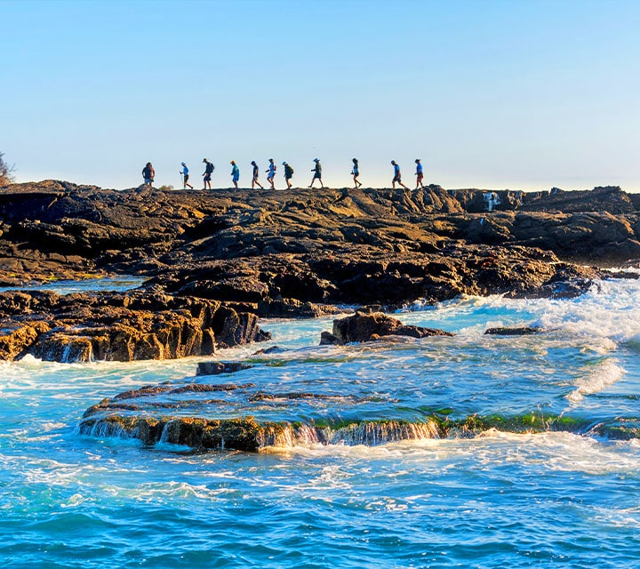 Quasar Guests walking on the rocky shores of the Galapagos Islands with a Naturalist Guide