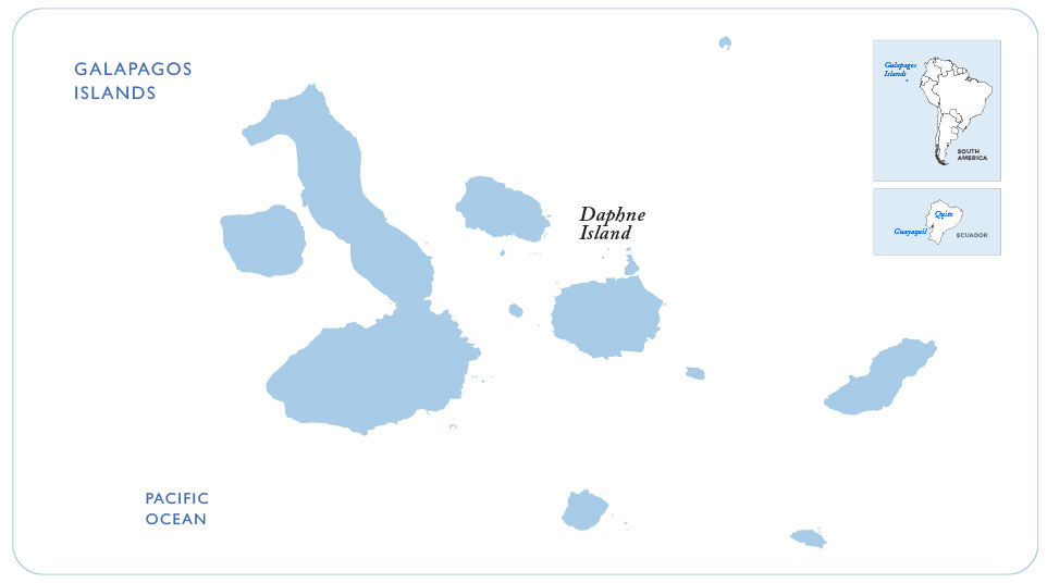 Map of the Galapagos showing Daphne Island