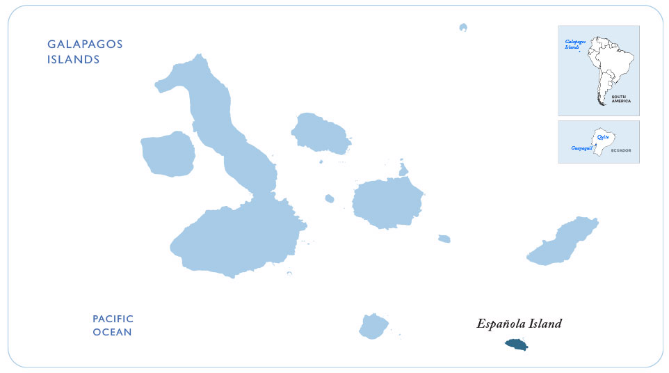 Map of the Galapagos showing Española Island