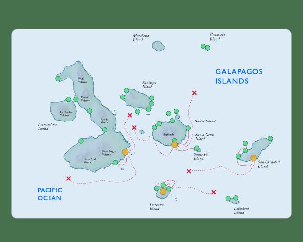 Galapagos Map Cruise vs Hotel