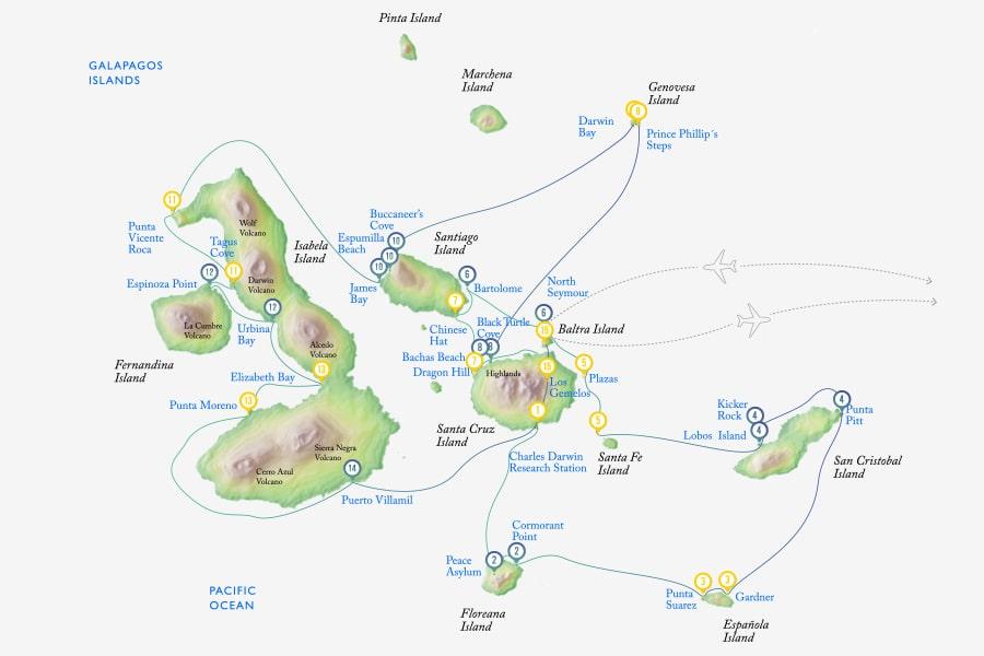 15 Days Galapagos Cruise Itinerary
